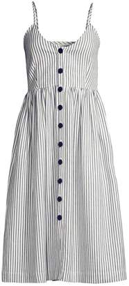 ATM Anthony Thomas Melillo Striped Button-Front Linen-Blend A-Line Dress
