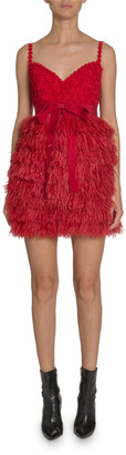 Andrew Gn Lace & Feather Mini Dress