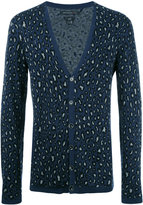 John Varvatos leopard pattern cardigan