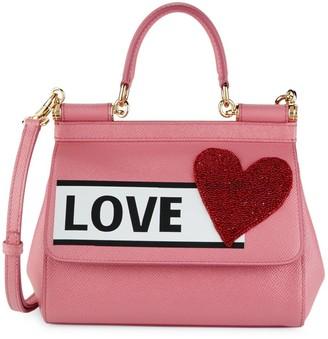 Dolce & Gabbana Love Print Leather Satchel