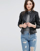 Barney's Originals Barney'S Originals Asymmetric Leather Biker Jacket With Quilted Shoulder Detail