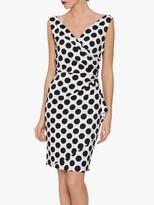 Gina Bacconi Isalia Spot Print Scuba Dress, Black/White