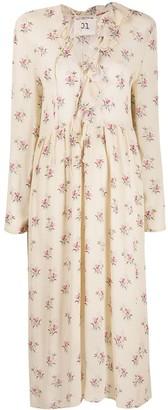 Semi-Couture Bouquet-Print Midi Dress