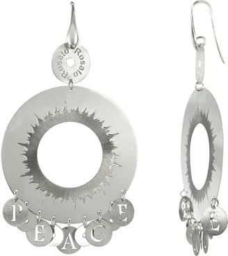 Rosato Sterling Silver Peace Hoop Earrings