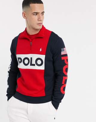 Polo Ralph Lauren half zip in navy colour block with polo branding