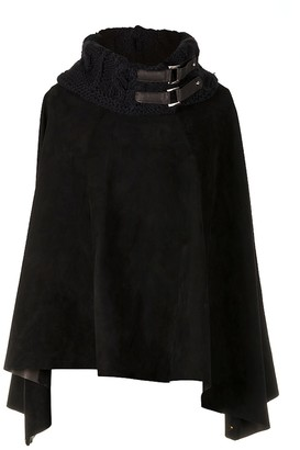 Zut London Suede Leather Poncho With Alpaca Blend Hand Knitted Collar In Black