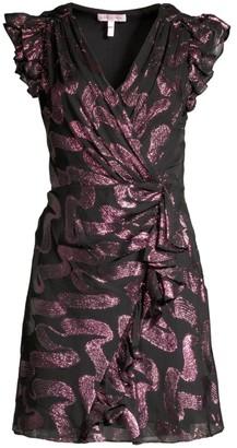 Rebecca Taylor Lurex Jacquard Ruffle Wrap Dress
