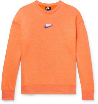 Nike Logo-Embroidered Melange Loopback Cotton-Blend Jersey Sweatshirt