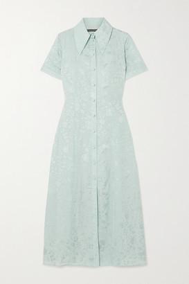 ALEXACHUNG Satin-jacquard Midi Shirt Dress - Sky blue
