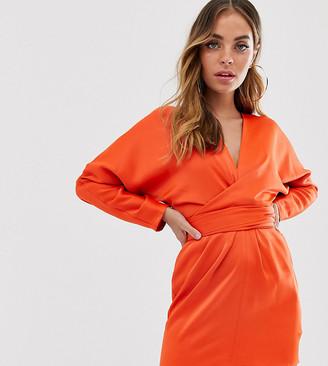Asos DESIGN Petite batwing mini dress with wrap waist in satin-Gold