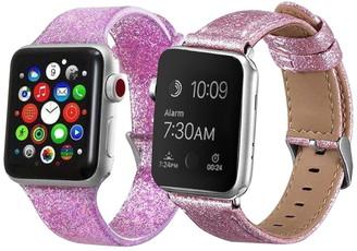 Posh Tech Pink Glitter Apple 1, 2, 3, 4, 5 Watch 42mm/44mm Band - Pack of 2
