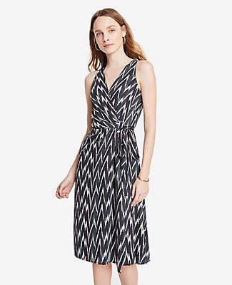 Ann Taylor Tall Ikat Belted Wrap Dress