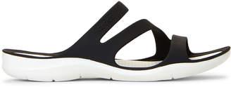 Crocs Black & White Swiftwater Slide Sandals