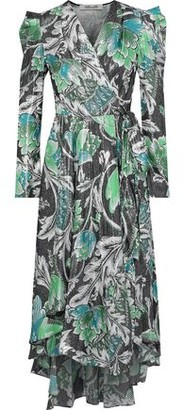 Diane von Furstenberg Darcey Printed Metallic Jacquard Wrap Dress