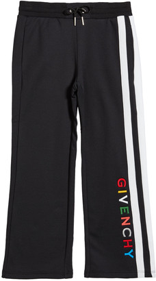 Givenchy Girl's Multicolor Logo Text Side-Stripe Pants, Size 6-10