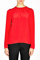 Goat Red Sophie Gathered Neck Silk Blouse