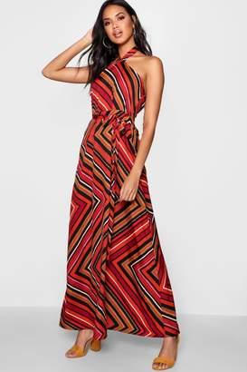 boohoo Hinda Halter Twist Belted Maxi Dress