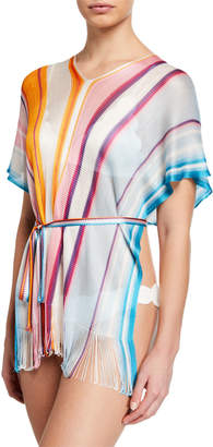 Missoni Woven Striped Short-Sleeve Coverup w/ Belt, One Size