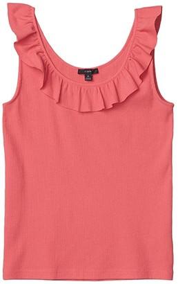J.Crew Rib Ruffle Neck Tank (Bright Papaya) Women's Clothing