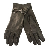 Gucci Authentic Black Leather Womans Gloves With Horsebit Detail - Sz 7