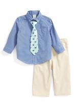 Little Me Infant Boy's Check Shirt, Pants & Tie Set
