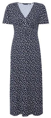 Dorothy Perkins Womens Navy Spot Print Button Midi Dress