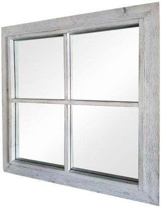"My Barnwood Frames Rustic White Windowpane Mirror, 34""x34"""