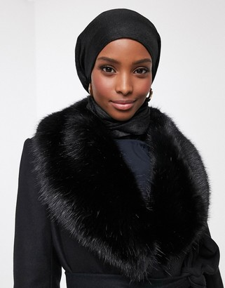 French Connection Carmelita faux fur collar coat in black