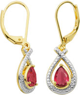SPARKLE ALLURE Classic Treasures Lab-Created Ruby and Diamond-Accent Pear-Shaped Drop Earrings