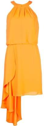 Halston frilled mini dress