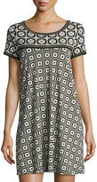 Max Studio Geometric-Print T-Shirt Dress, Black/Ivory