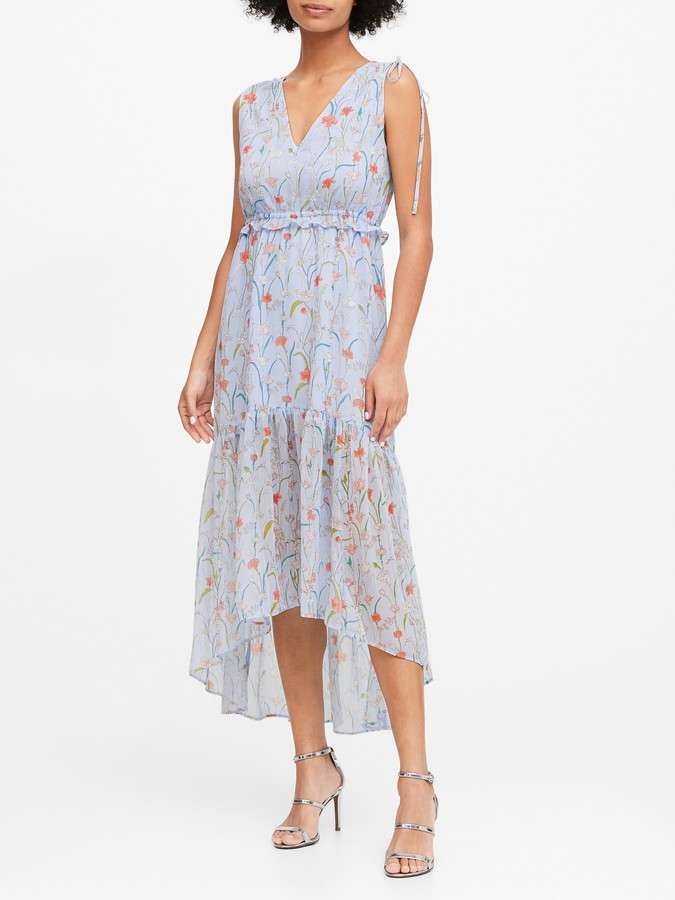 Banana Republic Floral Ruched Maxi Dress