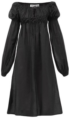 ÀCHEVAL PAMPA Antonia Smocked Puff-sleeve Cotton-voile Dress - Womens - Black