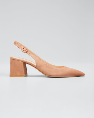 Gianvito Rossi Suede Block-Heel Point-Toe Slingback Pumps