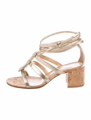 Gianvito Rossi Leather Cutout Accent Sandals Gold