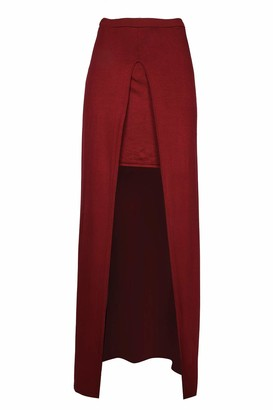 Fashion Star Women Celeb Inspired Front Cut Out Midaxi Skirt Red Plus Size (UK 16/18)