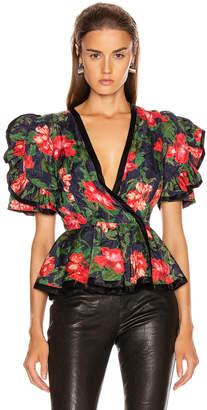 Icons Objects Of Devotion Objects of Devotion The Rose Peplum Top in Navy Red Rose | FWRD