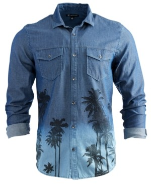 INC International Concepts Inc Men's Printed Denim Shirt, Created for Macy's