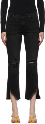 Frame Black Denim Le High Straight Side Fray Jeans