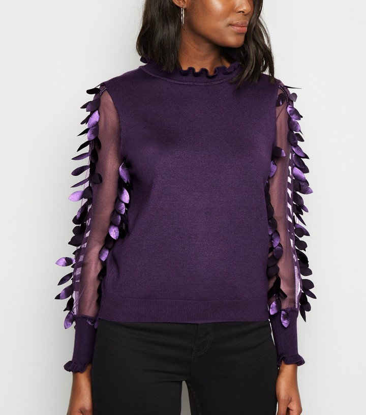 Thumbnail for your product : New Look Blue Vanilla Leaf Mesh Sleeve Jumper