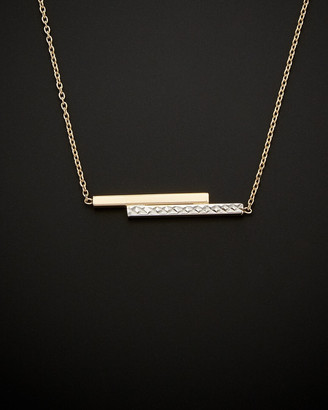 Italian Gold 14K Two-Tone Double Bar Necklace