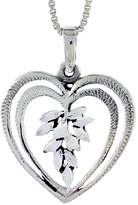 Sabrina Silver Sterling Silver Heart Pendant, 7/8 inch tall