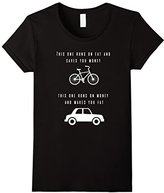Women's Funny Bicycle and Car T-shirt - Pro exercise shirt Large