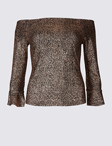 M&S Collection Sparkly Flared Sleeve Bardot Top