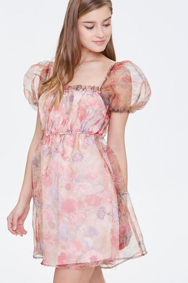 Forever 21 Organza Floral Print Mini Dress