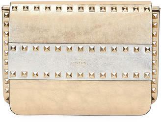 Valentino Garavani Rockstud Two-Tone Metallic Crackle Leather Shoulder Bag