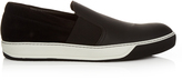 Lanvin Slip-on leather and suede trainers