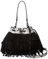 Alice + Olivia Suede Fringe Bucket Bag