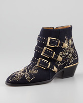 Chloé Suzanna Studded Suede Bootie, Navy/Golden