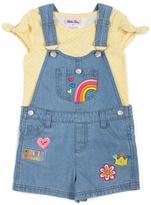 Little Lass Yellow & Blue Rainbow Shortalls - Toddler
